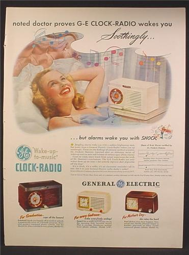 Magazine Ad For GE General Electric Beside Clock Radio, Doctor Proves Wakes You, 1948