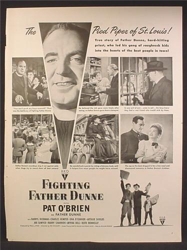 Magazine Ad For Fighting Father Dunne Movie, Pat O'Brien, Pied Piper of St. Louis, 1948