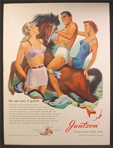 Magazine Ad For Jantzen Swimwear, Man & 2 Women in Bathing Suits, Riding Horse, 1948