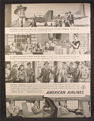 Magazine Ad For American Airlines, Interior, DC-6 Flagship Airplane, NC90745, 1948
