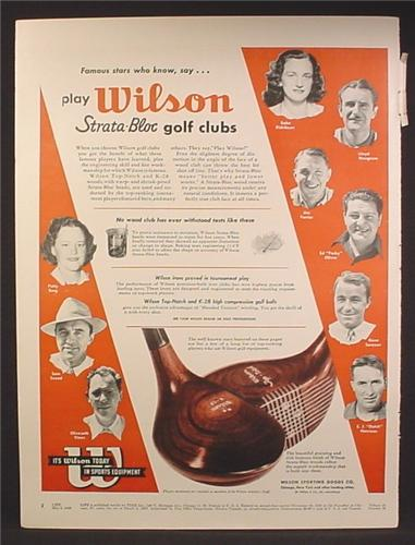 Magazine Ad For Wilson Strata-Bloc Golf Clubs, Strata Bloc, Golf Pros, 1948
