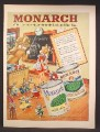 Magazine Ad For Monarch National Distributor of Fine Foods, Lion & Girl, Classroom, 1949
