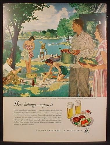 Magazine Ad For Beer Belongs, Number 33, Weekend At The Lake, Douglass Crockwell, 1949