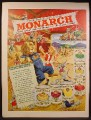 Magazine Ad For Monarch National Distributor of Fine Foods, Lion & Girl, Barn Dance, 1949