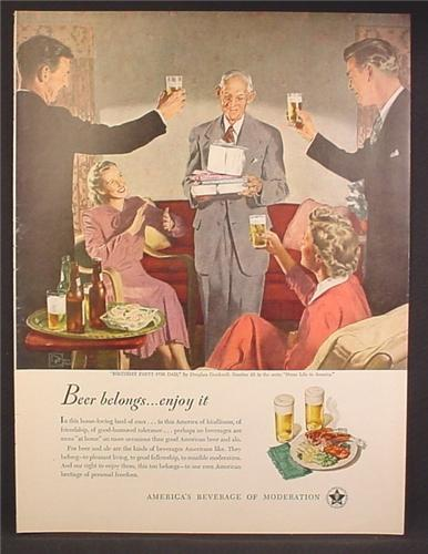 Magazine Ad For Beer Belongs, Number 35, Birthday Party For Dad, Douglass Crockwell, 1949