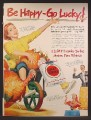 Magazine Ad For Lucky Strike Cigarettes, Woman in Wheelbarrow with Pumpkin & Turkey, 1950