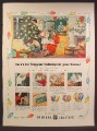 Magazine Ad For GE General Electric Christmas Lights & Bulbs, Tree Lights, 1950