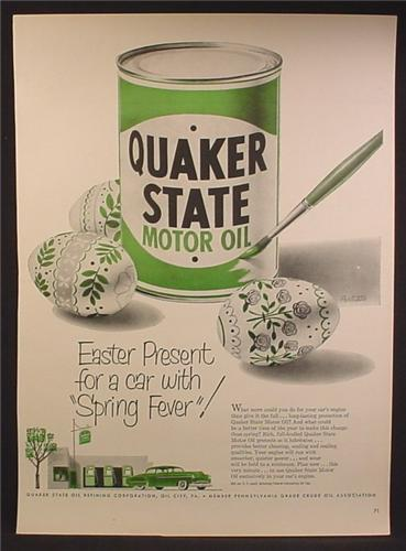 Magazine Ad For Quaker State Motor Oil, Green Can, Painted Easter Eggs, 1951