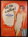 Magazine Ad For Jockey Underwear for Men, Man Wearing Midway Style Mad By Coopers, 1951