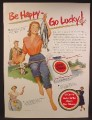 Magazine Ad For Lucky Strike Cigarettes, Woman With Fishing Pole & String of Fish, 1951