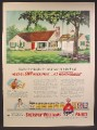 Magazine Ad For Sherwin-Williams Weatherated Paint, Bungalow House with Tree Swing, 1951
