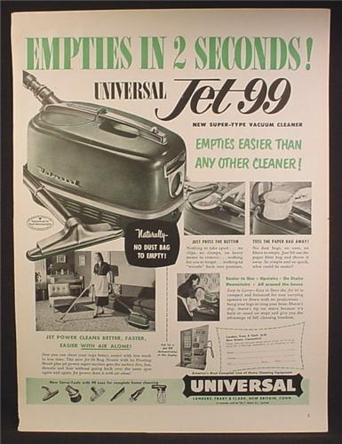 Magazine Ad For Universal Jet 99 Vacuum Cleaner, Empties Easier Than Any Other Cleaner, 1952