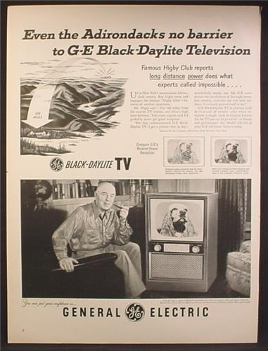 Magazine Ad For GE General Electric Black-Daylite TV Television, Adirondacks No Barrier, 1952