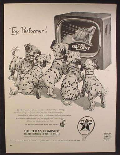 Magazine Ad For Texaco Fire-Chief Gasoline, 5 Dalmatian Dog Puppies in Front of a TV, 1952