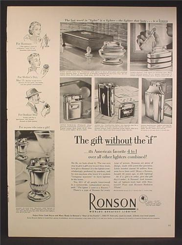 Magazine Ad For Ronson Lighters, table Models, 6 Models Pictured, 1952