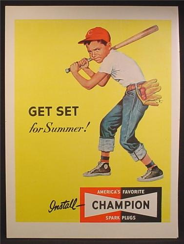 Magazine Ad For Champion Spark Plugs, Boy in High Top Sneakers With Baseball Bat Glove, 1952