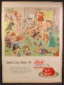 Magazine Ad For Jell-O Jello, Room Full of Kids in Halloween Costumes Being Bad, 1952