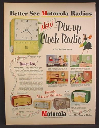 Magazine Ad For Motorolla Radios, Pin-Up Clock Radio, 5 Models Pictured, 1952