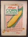 Magazine Ad For Kellogg's Corn Flakes Cereal, Giant Ear of Corn on Box, 1958