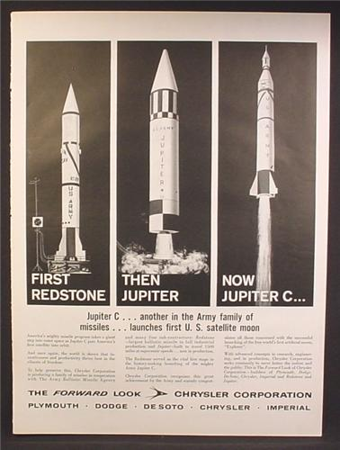 Magazine Ad For Chrysler Corporation, Rockets, Missiles, Redstone, Jupiter, Jupiter C, 1958