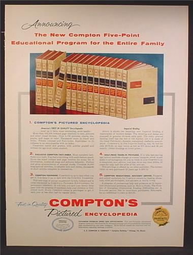 Magazine Ad For Compton's Pictured Encyclopedia, Five Point Educational Program, 1958