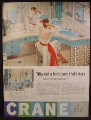 Magazine Ad For Crane Plumbing Fixtures, Blue Sink Toilet, Hers Alone, 1958