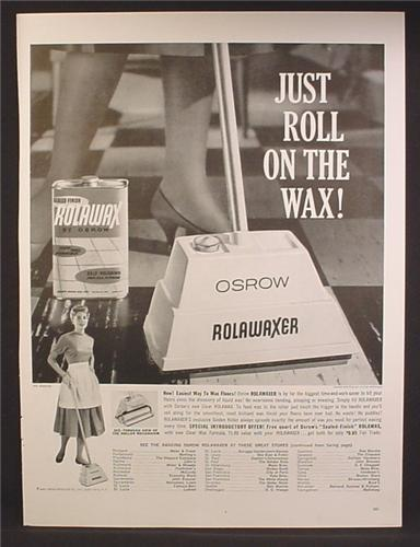 Magazine Ad For Osrow Rolawaxer Applicator, Waxes Floors, Rolawax In Can, 1959