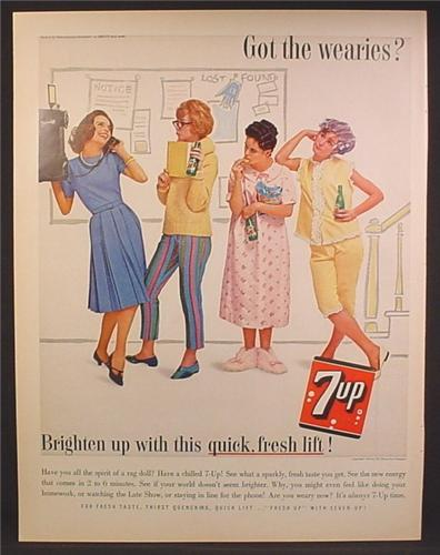 Magazine Ad For 7UP Seven-Up, Girls Lined Up in Dorm to Use Telephone, 1962