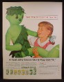 Magazine Ad For Jolly Green Giant 4 Foot Giant Rag Doll Offer, 1962