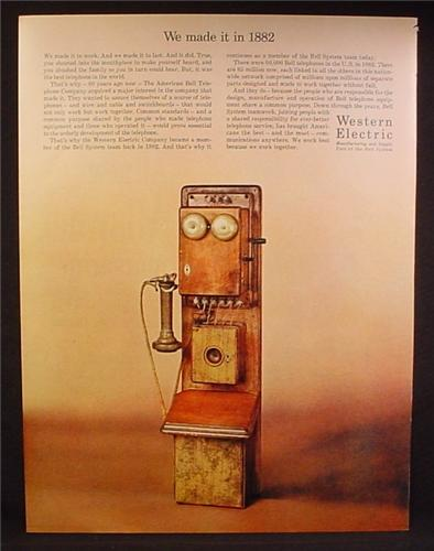 Magazine Ad For Western Electric, Antique Telephone Made in 1882, 1962