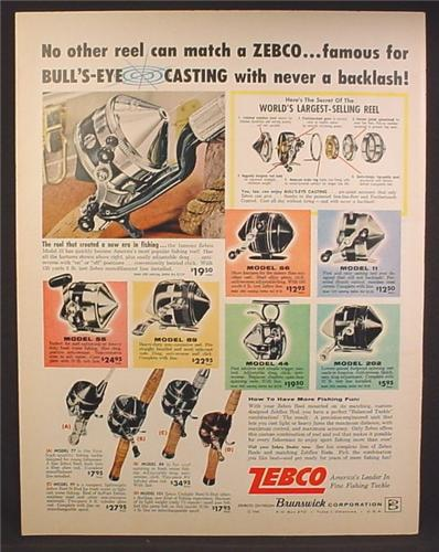 Magazine Ad For Zebco Fishing Reels, 11 Models Pictured, Fishing Tackle, Casting, 1962