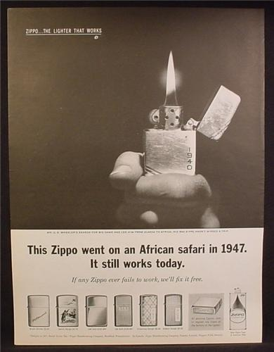 Magazine Ad For Zippo Lighters, 6 Models Shown, Went on African Safari in 1947, 1962