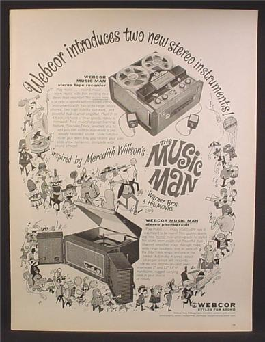 Magazine Ad For Webcor Music Man Stereo Phonograph, Inspired By Warner Bros Movie, 1962