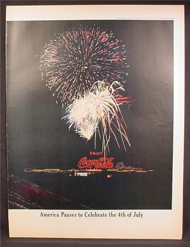 Magazine Ad For Coca-Cola Coke, American Pauses to Celebrate The 4th of July, Fireworks, 1962
