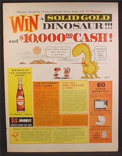 Magazine Ad For Dr Pepper Soft Drink, Contest to Win a Solid Gold Dinosaur, 1962