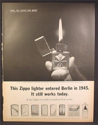Magazine Ad For Zippo Lighters, 6 Models Shown, Entered Berlin in 1945, 1962