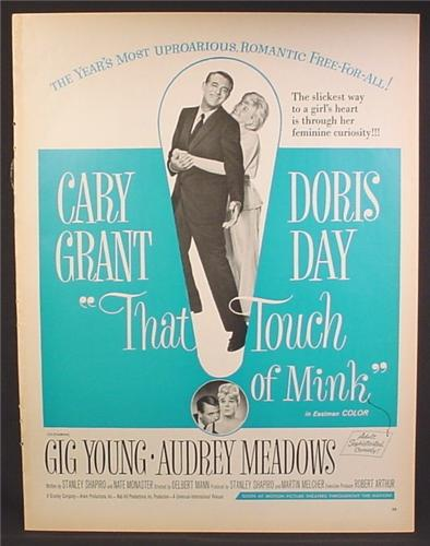 Magazine Ad For That Touch Of Mink Movie, Cary Grant, Doris Day, Poster,  1962