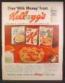 Magazine Ad For Kellogg's Cereal Free Milk Money Offer, Corn Flakes, Special K, 1962