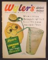 Magazine Ad For Wyler's Lemonade Mix in Packet, Lemon with Straw Hat & Face, 1962