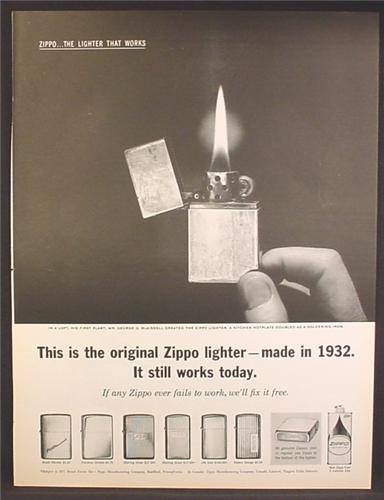 Magazine Ad For Zippo Lighters, 6 Models Shown, Original Made in 1932 Still Works, 1962
