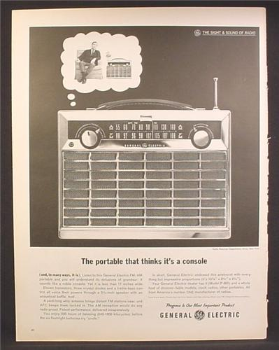 Magazine Ad For GE General Electric Portable Radio, Model P-865, Thinks It's a Console, 1962