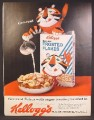 Magazine Ad For Kellogg's Sugar Frosted Flakes Cereal, Tony The Tiger in Box Pouring Milk, 1962