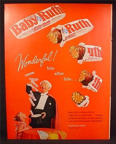 Magazine Ad For Baby Ruth Chocolate Bars, Magician Makes A Bar Disappear Bite By Bite, 1962