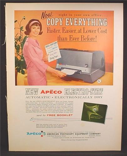 Magazine Ad For Apeco Electro-Stat Copier, Automatic, Electronically Dry, 1963