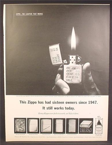 Magazine Ad For Zippo Lighters, 5 Models Shown, Has Had 16 Owners Since 1947, 1963