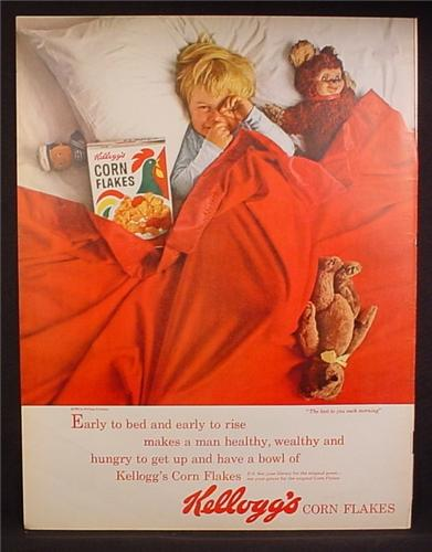 Magazine Ad For Kellogg's Corn Flakes Cereal, Boy in Bed with Box & Stuffed Monkey 1963