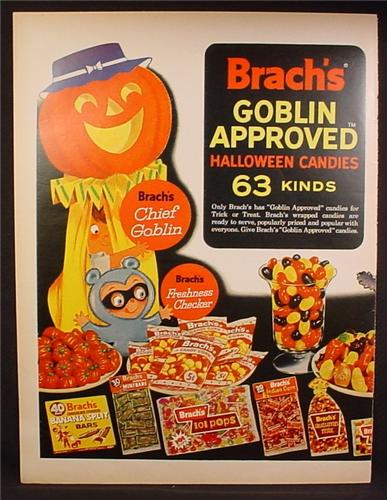 Magazine Ad For Brach's Goblin Approved Halloween Candies, 63 Kinds, 1963