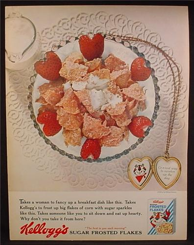 Magazine Ad For Kellogg's Sugar Frosted Flakes Cereal, Locket with Tony The Tiger, 1963