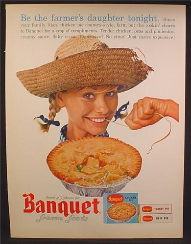 Magazine Ad For Banquet Frozen Foods, Be The Farmer's Daughter Tonight, 1963