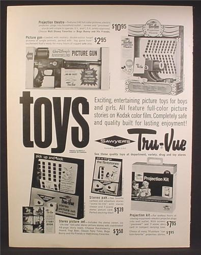 Magazine Ad For Sawyers, Tru-Vue Toys, Walt Disney Picture Gun, Projectors, 1963